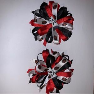 Go Team! Hair Bows, set of 2, 🏈, Red & Black